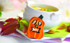 cup, soup, pumpkin, leaves, cup, saucer