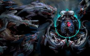 Демоны, скелет, черепа, пентаграмма, цепи, горящие глаза