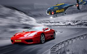 classico, inseguimento, strada, polizia, elicottero