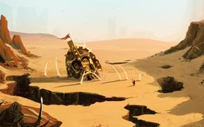 Art, landscape, fantasy, desert, failures, head, statue, helmet, man, rocks, sand, War, weapon
