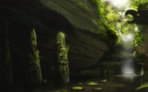 艺术, 水, 瀑布, 图腾, 青菜, 山沟, 岩石, 柱