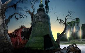 арт, город, постапокалипсис, колокол, вода, заброшенность, руины, автобус, обрыв, маниша, остов, крест