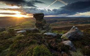 tramonto, pietre, paesaggio