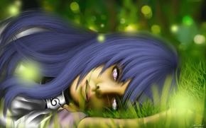 арт, девушка, трава, лежа