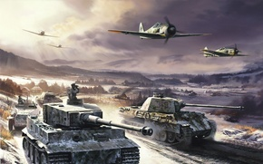 army, World War II, Winter, tiger, panther, Tanks, aircraft, German technology, Germans, history, Germany