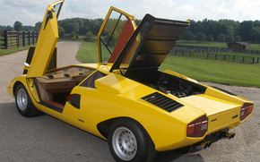 ламбо, коунтач, желтая, двери, капот, вид сзади, Lamborghini