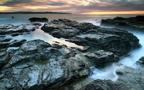 природа, море, скалы, камни, вода, тучи, лужи