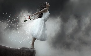 girl, break, Flowers, Petals, fall