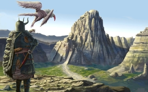 Art, Mountains, man, Armor, helmet, Horn, city, being, wings, bird, back, cloak, rocks