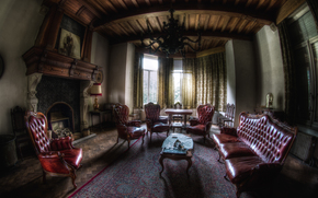 room, interior, chair, chairs, sofa, fireplace, window, Mansion, cottage