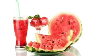 watermelon, slices, juice, cocktail, drink, ice cream, dessert