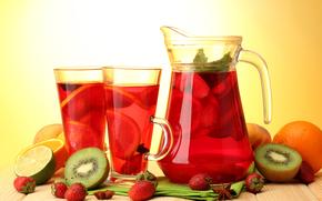 drink, compote, fruit, Berries, kiwi, lime, orange, strawberry, lemon, peach, glasses, pitcher