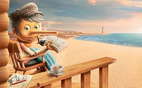 Pinocchio, recreation, coast, sea, lighthouse, happiness, tea, scarf