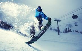 da snowboard, uomo, inverno, pendenza, neve