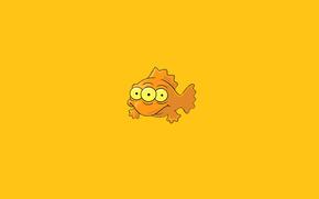 рыба, три глаза, orange, минимализм