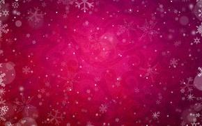 розовый, снежинки, морозные уззоры