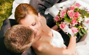 невеста, жених, пара, свадьба, букет, розы, улыбка