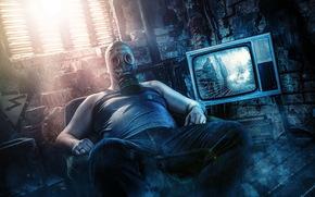 muzhik, TV, mask, situation
