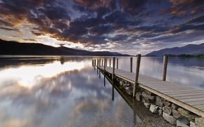 lake, pier, berth, wharf, board, Hills, clouds, sunset