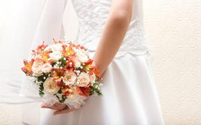 невеста, платье, фата, шнуровка, цветы, букет