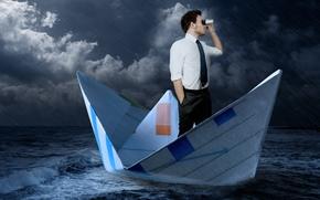 sea, storm, rain, ship, man, binoculars, tie, shirt