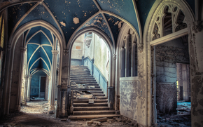 Mansion, abandonment, devastation, stairs, ladder, Arch