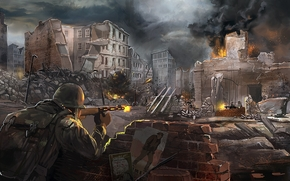 арт, битва, солдат, оружие, выстрелы, город, руины, война