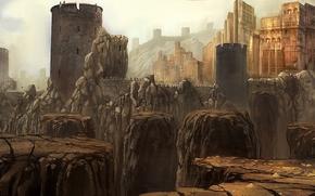 Art, castle, fortress, city, rocks, stones