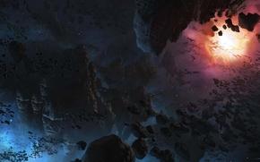 арт, фантастический мир, камни, булыжники, пространство, свечение, лица, скульптуры, звезды, космос, планеты, туманность, звезда