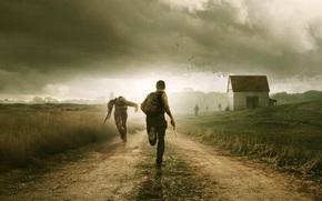 survivors, run, weapon, zombie, road, field, clouds