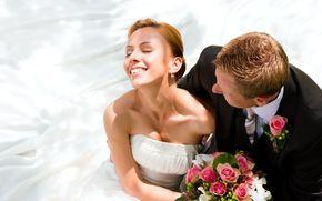 жених, невеста, букет, смех, цветы, свадьба