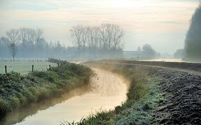 mattina, fiume, nebbia, paesaggio