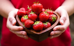 strawberry, food, hands