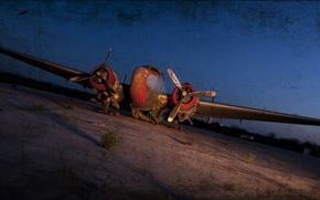самолёт, аэродром, ночь