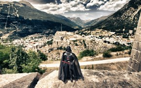 Darth Vader, lightsaber, city, Mountains