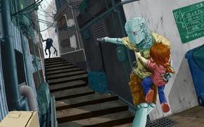 robot, ragazza, inseguimento, arma
