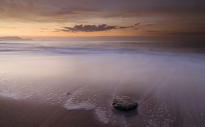 sea, rocks, sunset, landscape