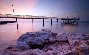 mar, puente, puesta del sol, paisaje