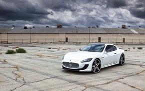 Maserati, granturizmo, white, asphalt, crack, Maserati