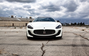 Maserati, granturizmo, blanc, avant, tonique, des traces de pneus, asphalte, Maserati
