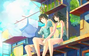 Парень, девушка, двое, влюбленные, сидят, дома, белье, листья, трава, ветер
