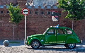 Vintage, citroen 3cv, green, buenos aires, argentina