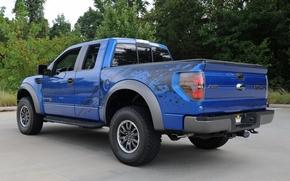 guado, raptor, pick-up, camionetta, SUV, blu, vista posteriore, alberi, sfondo, Guado