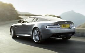 scomparto, argento, vista posteriore, strada, Montagne, sfondo, Aston Martin