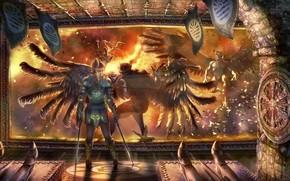 арт, окно, демон, крылья, страж, оружие, помещение