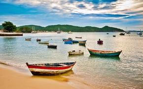 buzios, brazil, beach, boats, colorful, coordinates -22.748683, -41.881567, Бузиос, Бразилия, пляж, лодки, красочные, -22, 748683 координаты, -41, 881567