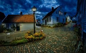 cidade, stavanger, Noruega, carvo gigante, Rua, piso, hora azul, casas, cidade, Stavanger, Noruega, rua, piso, hora azul, casa