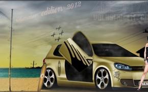 volkswagen, Golf, girl, summer