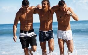 парни, модели, фото, обои, море, улыбки