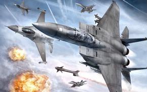 самолеты, истребитель, полет, взрывы, в небе